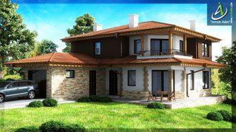 """Представеният проект е на еднофамилна къща с двуетажен обем в ЖК """"Изгрев"""" - гр.Варна."""