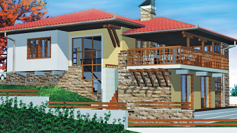 Проект на къща, едноетажна откъм улицата и двуетажна към дъното на имота- РЗП 215 кв.м