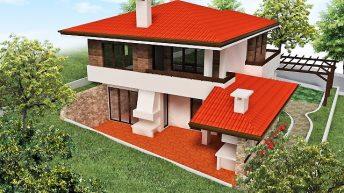 Проект на еднофамилна двуетажна къща в с. Г. Буково, общ. Средец - РЗП 155 кв.м