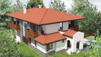 Проект на двуетажна еднофамилна къща в.з. Бистрица, на наклонен терен – РЗП 303 кв.м
