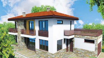 """Проект на двуетажна къща """"ЗЕЛЕНОРАМА'' или """"ЗЕЛЕНА ПАНОРАМА"""" с РЗП = 278 кв.м"""
