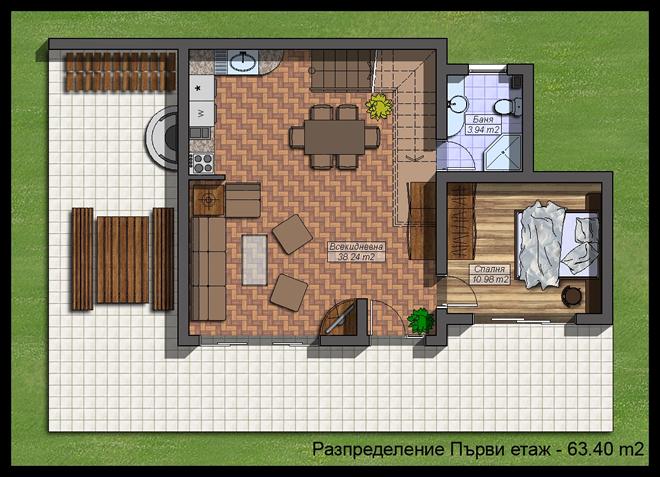 План на първи етаж на вила в планината