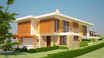Проект на еднофамилна двуетажна къща в с. Дивотино, общ. Перник – РЗП 272 кв.м