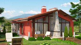 Проект на еднофамилна едноетажна къща – готов проект – РЗП 96 кв.м