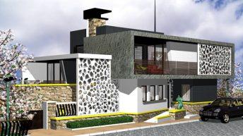 Проект на еднофамилна къща, предназначена за младо семейство с модерно мислене