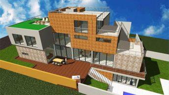 Проект на еднофамилна жилищна сграда,  гр. София – РЗП 528 кв.м