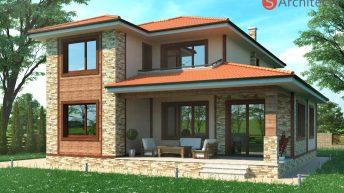 Проект на двуетажна еднофамилна къща в с. Труд – РЗП 256 кв.м