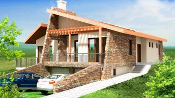 Проект на еднофамилна къща в с. Ветрен, общ. Бургас - РЗП 230 кв.м