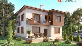 Проект на двуетажна семейна къща е създаден за гр. Пловдив