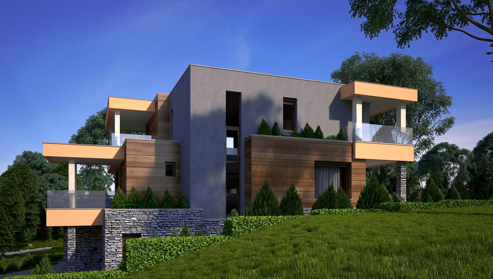 Проект на еднофамилна двуетажна къща със сутерен на наклонен терен
