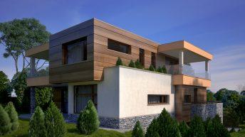 Проект на  еднофамилна двуетажна къща със сутерен на наклонен терен – РЗП 435 кв.м