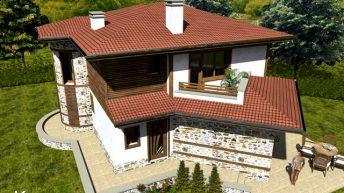 Идеен проект на еднофамилна къща от крайградски тип – РЗП 196 кв.м