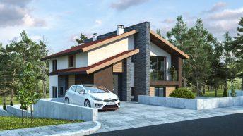 Проект на еднофамилна двуетажна къща с денивелация в с. Червен, общ. Асеновград – РЗП 163 кв.м