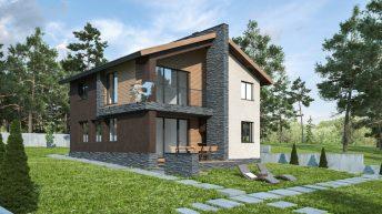 Проект на еднофамилна двуетажна къща с денивелация в с. Червен, общ. Асеновград