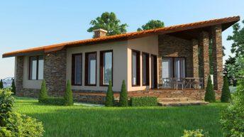 Проект на едноетажна еднофамилна къща  в с. Стоево – РЗП 105 кв.м