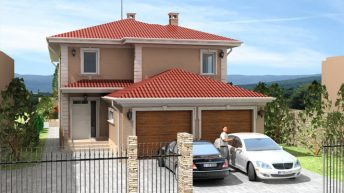 Проект на еднофамилна двуетажна къща с гараж в гр.Пловдив – РЗП 372 кв.м