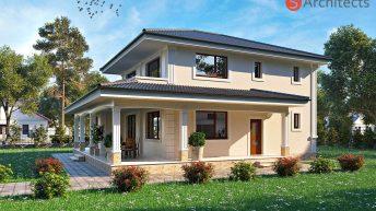 Проект на еднофамилна двуетажна къща с веранда в гр. Сопот – РЗП 285 кв.м