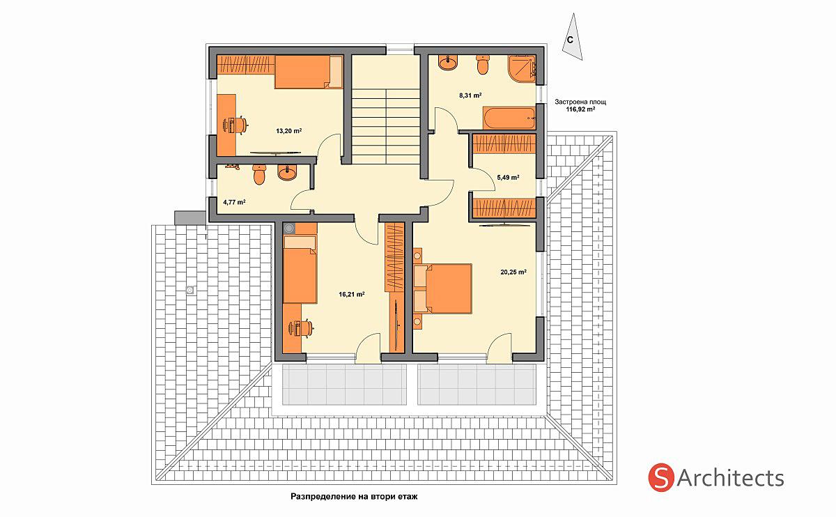 Разпределение на втори етаж